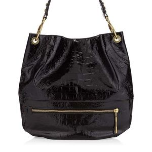 RoYANY Lucy Black croco embossed leather boho bag